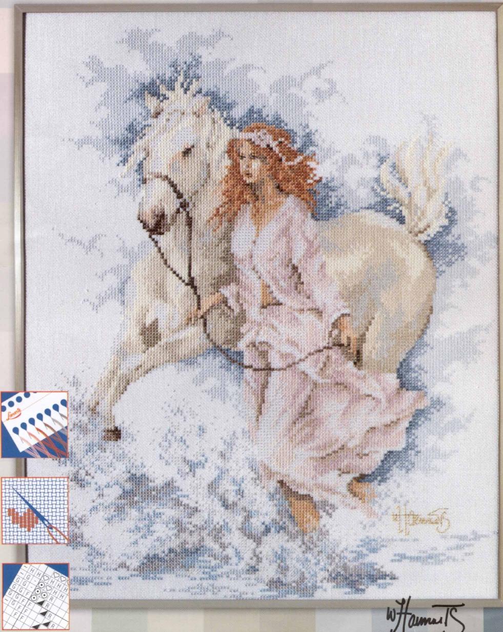 Схема вышивки крестом Девушка и лошадь : Онлайн-мастерская 14